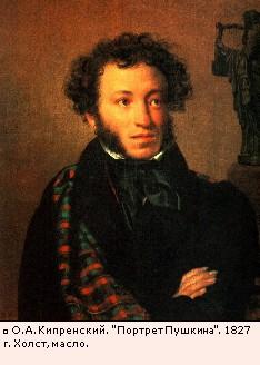 О.А. Кипренский. Портрет Пушкина. 1827 г. Холст, масло.