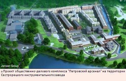 Проект общественно-делового комплекса Петровский арсенал на территории Сестрорецкого инструментального завода