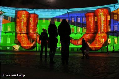 Световое шоу на Дворцовой площади.