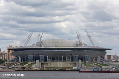 """Строительство стадиона """"Зенит арена"""" на Крестовском острове."""