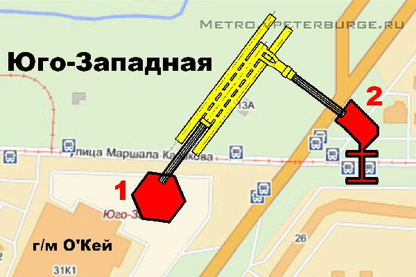 Схема будущей станции ''Юго-Западная'' (''Казаковская'') .Показаны вестибюли , эскалаторы , платформа.